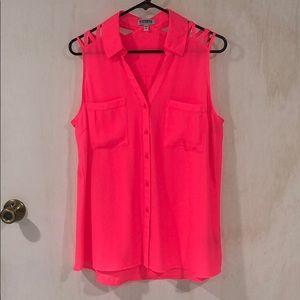 Express Pink Neon Button Blouse Tank